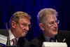 Chicago, IL - ASCO 2011 Annual Meeting:  Armand Keating and George Sledge speak during the Special Session: ASCO/ASH Joint Session at the American Society for Clinical Oncology Annual Meeting here today, Saturday June 4, 2011. Over 25,000  physicians, researchers and healthcare professionals from over 100 countries are attending the meeting which is being held at the McCormick Convention center and features the latest cancer research in the areas of basic and clinical science. Date: Saturday June 4, 2011 Photo by © GMG/Todd Buchanan 2011 Technical Questions: todd@toddbuchanan.com; ASCO Contact: photos@asco.org Event Name: Special Session: ASCO/ASH Joint Session