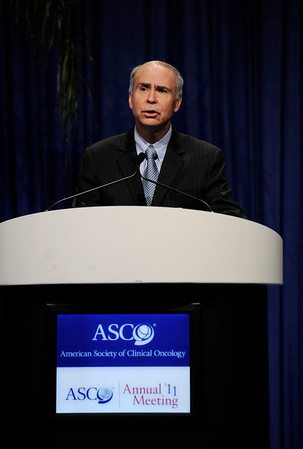 Chicago, IL - ASCO 2011 Annual Meeting:  Kenneth C.  Anderson, M.D. is recognized during the Opening Session at the American Society for Clinical Oncology Annual Meeting here today, Saturday June 4, 2011. Over 25,000  physicians, researchers and healthcare professionals from over 100 countries are attending the meeting which is being held at the McCormick Convention center and features the latest cancer research in the areas of basic and clinical science. Date: Saturday June 4, 2011 Photo by © GMG/Phil McCarten 2011 Technical Questions: todd@toddbuchanan.com; ASCO Contact: photos@asco.org Event Name: Opening Session