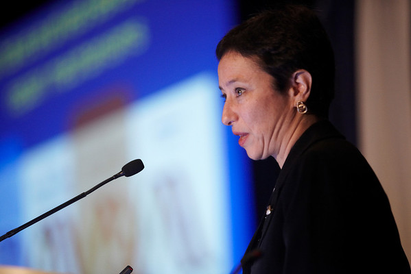 Chicago, IL - ASCO 2011 Annual Meeting:  Judy Garber  speaks during the PRAP Inhibitors - S100a at the American Society for Clinical Oncology Annual Meeting here today, Saturday June 4, 2011. Over 25,000  physicians, researchers and healthcare professionals from over 100 countries are attending the meeting which is being held at the McCormick Convention center and features the latest cancer research in the areas of basic and clinical science. Date: Saturday June 4, 2011 Photo by © GMG/Silas Crews 2011 Technical Questions: todd@toddbuchanan.com; ASCO Contact: photos@asco.org Event Name: PRAP Inhibitors - S100a