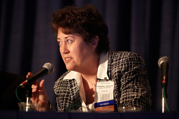 Chicago, IL - ASCO 2011 Annual Meeting:  Katherine Virgo  speaks during the CSS, Suvivorship - S100bc at the American Society for Clinical Oncology Annual Meeting here today, Saturday June 4, 2011. Over 25,000  physicians, researchers and healthcare professionals from over 100 countries are attending the meeting which is being held at the McCormick Convention center and features the latest cancer research in the areas of basic and clinical science. Date: Saturday June 4, 2011 Photo by © GMG/Silas Crews 2011 Technical Questions: todd@toddbuchanan.com; ASCO Contact: photos@asco.org Event Name: CSS, Suvivorship - S100bc