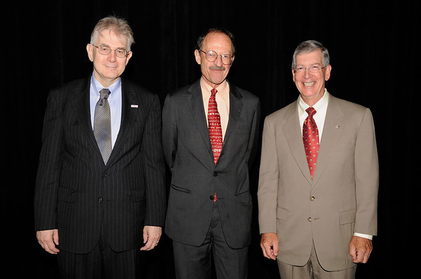 Chicago, IL - ASCO 2011 Annual Meeting: (l to r) George Sledge, MD, Harold  Varmus, MD, and Allen Lichter, MD, during the Opening Session at the American Society for Clinical Oncology Annual Meeting here today, Saturday June 4, 2011. Over 25,000  physicians, researchers and healthcare professionals from over 100 countries are attending the meeting which is being held at the McCormick Convention center and features the latest cancer research in the areas of basic and clinical science. Date: Saturday June 4, 2011 Photo by © GMG/Phil McCarten 2011 Technical Questions: todd@toddbuchanan.com; ASCO Contact: photos@asco.org Event Name: Opening Session