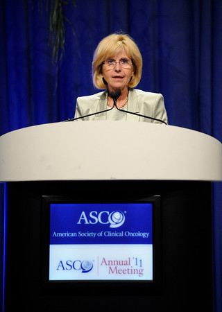 Chicago, IL - ASCO 2011 Annual Meeting:  Ruth  Ladenstein speaks during the Plenary Session at the American Society for Clinical Oncology Annual Meeting here today, Sunday June 5, 2011. Over 25,000  physicians, researchers and healthcare professionals from over 100 countries are attending the meeting which is being held at the McCormick Convention center and features the latest cancer research in the areas of basic and clinical science. Date: Sunday June 5, 2011 Photo by © GMG/Phil McCarten 2011 Technical Questions: todd@toddbuchanan.com; ASCO Contact: photos@asco.org Event Name: Plenary Session