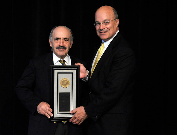 Chicago, IL - ASCO 2011 Annual Meeting:  Robert A.  Weinberg, Ph.D. is honored during the Plenary Session at the American Society for Clinical Oncology Annual Meeting here today, Sunday June 5, 2011. Over 25,000  physicians, researchers and healthcare professionals from over 100 countries are attending the meeting which is being held at the McCormick Convention center and features the latest cancer research in the areas of basic and clinical science. Date: Sunday June 5, 2011 Photo by © GMG/Phil McCarten 2011 Technical Questions: todd@toddbuchanan.com; ASCO Contact: photos@asco.org Event Name: Plenary Session