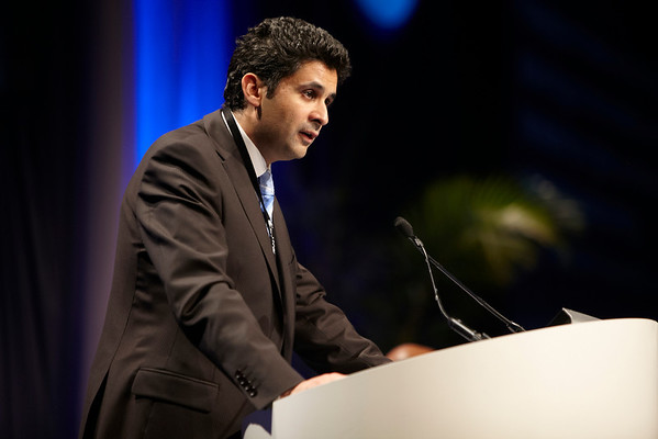 Chicago, IL - ASCO 2011 Annual Meeting: Karim Fizazi MD PhD speaks during the Genitourinary Cancer Oral Abstract Session at the American Society for Clinical Oncology Annual Meeting here today, Monday June 6, 2011. Over 25,000  physicians, researchers and healthcare professionals from over 100 countries are attending the meeting which is being held at the McCormick Convention center and features the latest cancer research in the areas of basic and clinical science. Date: Monday June 6, 2011 Photo by © GMG/Scott Morgan 2011 Technical Questions: todd@toddbuchanan.com; ASCO Contact: photos@asco.org Event Name: Genitourinary Cancer Oral Abstract Session