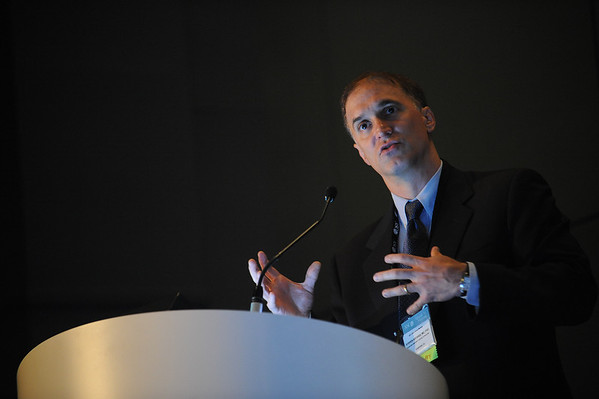Chicago, IL - ASCO 2011 Annual Meeting:  Steven Artandi  speaks during the ASCO/AACR joint session on Telomeres and Telomerase at the American Society for Clinical Oncology Annual Meeting here today, Monday June 6, 2011. Over 25,000  physicians, researchers and healthcare professionals from over 100 countries are attending the meeting which is being held at the McCormick Convention center and features the latest cancer research in the areas of basic and clinical science. Date: Monday June 6, 2011 Photo by © GMG/Brian Powers 2011 Technical Questions: todd@toddbuchanan.com; ASCO Contact: photos@asco.org Event Name: ASCO/AACR joint session on Telomeres and Telomerase