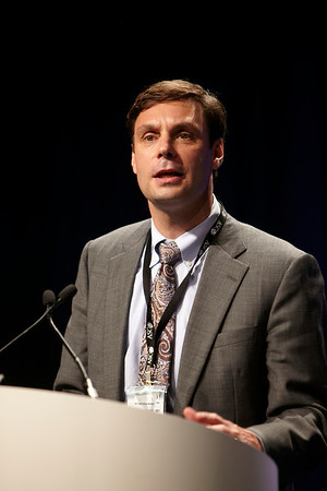 Chicago, IL - ASCO 2011 Annual Meeting: George Daniel MD speaks during the Genitourinary Cancer Oral Abstract Session at the American Society for Clinical Oncology Annual Meeting here today, Monday June 6, 2011. Over 25,000  physicians, researchers and healthcare professionals from over 100 countries are attending the meeting which is being held at the McCormick Convention center and features the latest cancer research in the areas of basic and clinical science. Date: Monday June 6, 2011 Photo by © GMG/Scott Morgan 2011 Technical Questions: todd@toddbuchanan.com; ASCO Contact: photos@asco.org Event Name: Genitourinary Cancer Oral Abstract Session