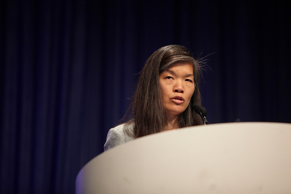 Chicago, IL - ASCO 2011 Annual Meeting:  Lisa Yee  speaks during the Oral Abstract: Breast Cancer Triple Negative/Cytotoxics/Local Therapy session at the American Society for Clinical Oncology Annual Meeting here today, Monday June 6, 2011. Over 25,000  physicians, researchers and healthcare professionals from over 100 countries are attending the meeting which is being held at the McCormick Convention center and features the latest cancer research in the areas of basic and clinical science. Date: Monday June 6, 2011 Photo by © GMG/Silas Crews 2011 Technical Questions: todd@toddbuchanan.com; ASCO Contact: photos@asco.org Event Name: Oral Abstract: Breast Cancer Triple Negative/Cytotoxics/Local Therapy session