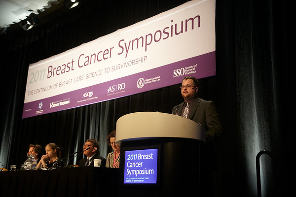 San Francisco, CA - Breast Cancer Symposium 2011 - The Continuum of Breast Care: Science to Survivorship - D. R. Smith presents the paper Abstract #1: Clinical presentation of breast cancer: age, stage, and treatment modalities in a contemporary cohort of Michigan women during the General Session II: Detection and Imaging at the Breast Cancer Symposium here today, Thursday September 8, 2011 at the San Francisco Marriott. Over 1100 attendees received updates on the latest research in breast cancer detection, care, prevention and treatment from physicians, clinicians and researchers from around the world.  Date: Thursday September 8, 2011 Photo by © ASCO/Todd Buchanan 2011 Technical Questions: todd@toddbuchanan.com; Phone: 612-226-5154.