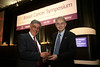 San Francisco, CA -  Breast Cancer Symposium 2011 - The Continuum of Breast Care: Science to Survivorship -  Luca Gianni, MD, left,  receives the Gianni Bonadonna Breast Cancer Award from George Sledge, MD during the Breast Cancer Symposium here today, Thursday September 8, 2011 at the San Francisco Marriott. Over 1100 attendees received updates on the latest research in breast cancer detection, care, prevention and treatment from physicians, clinicians and researchers from around the world.  Date: Thursday September 8, 2011 Photo by © ASCO/Todd Buchanan 2011 Technical Questions: todd@toddbuchanan.com; Phone: 612-226-5154.