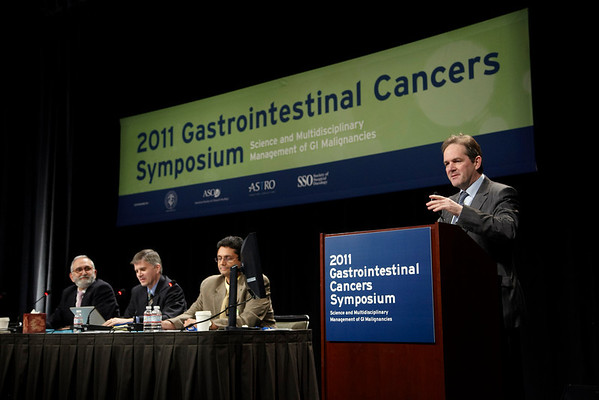 San Francisco, CA - 2011 Gastrointestinal Cancers Symposium - Dr. David Cunningham leads the Tumor Board: How should Histology influence the selection of treatement at the 2011 Gastrointestinal Cancers Symposium (GI) meeting at the Moscone Center West here today, Thursday January 20, 2011. Photo by © Todd Buchanan 2011 Technical Questions: todd@toddbuchanan.com; Phone: 612-226-5154.