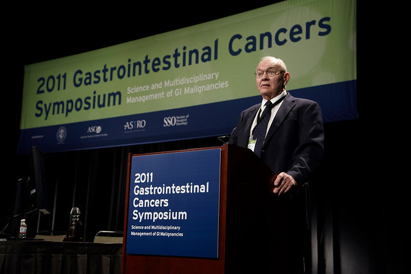 San Francisco, CA - 2011 Gastrointestinal Cancers Symposium -Dr. Henry Lynch gives the Keynote Lecture  at the 2011 Gastrointestinal Cancers Symposium (GI) meeting at the Moscone Center West here today, Saturday January 22, 2011. Photo by © Todd Buchanan 2011 Technical Questions: todd@toddbuchanan.com; Phone: 612-226-5154.