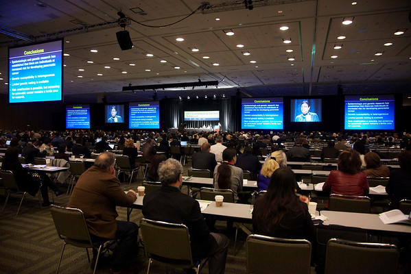 San Francisco, CA - 2011 Gastrointestinal Cancers Symposium - Attendees head to sessions during the 2011 Gastrointestinal Cancers Symposium (GI) meeting at the Moscone Center West here today, Friday January 21, 2011. Photo by © Todd Buchanan 2011 Technical Questions: todd@toddbuchanan.com; Phone: 612-226-5154.