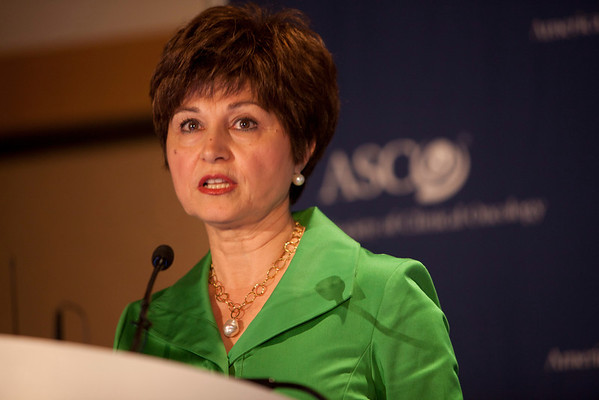 Chicago, IL - ASCO 2012 Annual Meeting: - Maha Hussain, MD, FACP, speaks during the Press Conference: Highlighted Research of the Day at the American Society for Clinical Oncology (ASCO) Annual Meeting here today, Saturday June 2, 2012.  Over 31,000 physicians, researchers and healthcare professionals from over 100 countries are attending the meeting which is being held at the McCormick Convention center and features the latest cancer research in the areas of basic and clinical science. Photo by © ASCO/Scott Morgan 2012 Technical Questions: todd@toddbuchanan.com; ASCO Contact: photos@asco.org