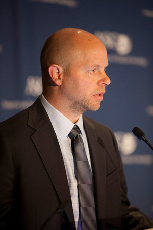 Chicago, IL - ASCO 2012 Annual Meeting: - Joseph M. Unger, PhC, speaks during the Press Conference: Highlighted Research of the Day at the American Society for Clinical Oncology (ASCO) Annual Meeting here today, Saturday June 2, 2012.  Over 31,000 physicians, researchers and healthcare professionals from over 100 countries are attending the meeting which is being held at the McCormick Convention center and features the latest cancer research in the areas of basic and clinical science. Photo by © ASCO/Scott Morgan 2012 Technical Questions: todd@toddbuchanan.com; ASCO Contact: photos@asco.org