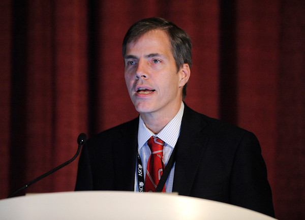 Chicago, IL - ASCO 2011 Annual Meeting: - John Byrd, M.D.,  speaks during the Toward Successful Targeting of the P3 Kinase Pathway in Cancer session at the American Society for Clinical Oncology (ASCO) Annual Meeting here today, Saturday June 2, 2012.  Over 31,000 physicians, researchers and healthcare professionals from over 100 countries are attending the meeting which is being held at the McCormick Convention center and features the latest cancer research in the areas of basic and clinical science. Photo by © ASCO/Phil McCarten 2012 Technical Questions: todd@toddbuchanan.com; ASCO Contact: photos@asco.org