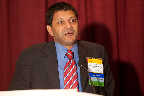 Chicago, IL - ASCO 2012 Annual Meeting: - S. Rajkumar, MD, speaks during the Ed Session: Controversies in Myeloma: Induction, Transplant and Maintenance at the American Society for Clinical Oncology (ASCO) Annual Meeting here today, Saturday June 2, 2012.  Over 31,000 physicians, researchers and healthcare professionals from over 100 countries are attending the meeting which is being held at the McCormick Convention center and features the latest cancer research in the areas of basic and clinical science. Photo by © ASCO/Scott Morgan 2012 Technical Questions: todd@toddbuchanan.com; ASCO Contact: photos@asco.org