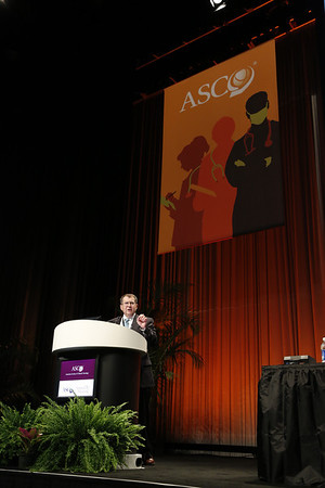 Chicago, IL - ASCO 2012 Annual Meeting: - Hyman B. Muss, MD<br />  discusses Optimizing Adjuvant Therapy Decisions for Elderly Patients with Breast Cancer during the Ed Session: Controversies in Adjuvant Treatment of Breast Cancer at the American Society for Clinical Oncology (ASCO) Annual Meeting here today, Friday June 1, 2012.  Over 31,000 physicians, researchers and healthcare professionals from over 100 countries are attending the meeting which is being held at the McCormick Convention center and features the latest cancer research in the areas of basic and clinical science. Photo by © ASCO/Todd Buchanan 2012 Technical Questions: todd@toddbuchanan.com; ASCO Contact: photos@asco.org