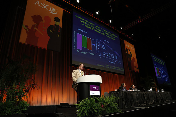 Chicago, IL - ASCO 2012 Annual Meeting: - Stephen Johnston discusses Vexing Issues in Antiestrogen Therapy in the Adjuvant Setting: Choice of Agents, Duration of Therapy, and Ovarian Suppression during the Ed Session: Controversies in Adjuvant Treatment of Breast Cancer at the American Society for Clinical Oncology (ASCO) Annual Meeting here today, Friday June 1, 2012.  Over 31,000 physicians, researchers and healthcare professionals from over 100 countries are attending the meeting which is being held at the McCormick Convention center and features the latest cancer research in the areas of basic and clinical science. Photo by © ASCO/Todd Buchanan 2012 Technical Questions: todd@toddbuchanan.com; ASCO Contact: photos@asco.org