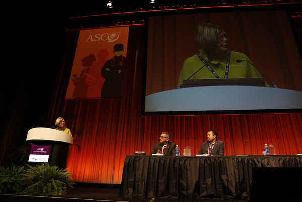 Chicago, IL - ASCO 2012 Annual Meeting: - LBA1000 Sandra M. Swain - NSABP B-38: Definitive analysis of a randomized adjuvant trial comparing dose-dense (DD) AC→paclitaxel (P) plus gemcitabine (G) with DD AC→P and with docetaxel, doxorubicin, and cyclophosphamide (TAC) in women with operable, node-positive breast cancer     at the American Society for Clinical Oncology (ASCO) Annual Meeting here today, Tuesday June 5, 2012.  Over 31,000 physicians, researchers and healthcare professionals from over 100 countries are attending the meeting which is being held at the McCormick Convention center and features the latest cancer research in the areas of basic and clinical science. Photo by © ASCO/Todd Buchanan 2012 Technical Questions: todd@toddbuchanan.com; ASCO Contact: photos@asco.org
