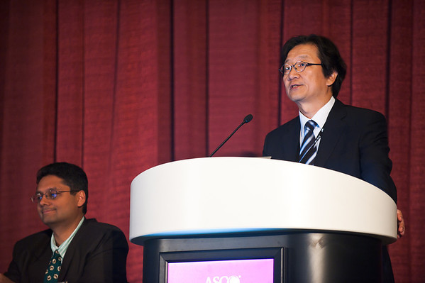 Chicago, IL - ASCO 2011 Annual Meeting: - Yoon-Koo Kang, speaks during the Global Perspective of Locally Advanced Gastric Cancer: Different Treatment Paradigms and Their Rationale at the American Society for Clinical Oncology (ASCO) Annual Meeting here today, Tuesday June 5, 2012.  Over 31,000 physicians, researchers and healthcare professionals from over 100 countries are attending the meeting which is being held at the McCormick Convention center and features the latest cancer research in the areas of basic and clinical science. Photo by © ASCO/Brian Powers 2012 Technical Questions: todd@toddbuchanan.com; ASCO Contact: photos@asco.org