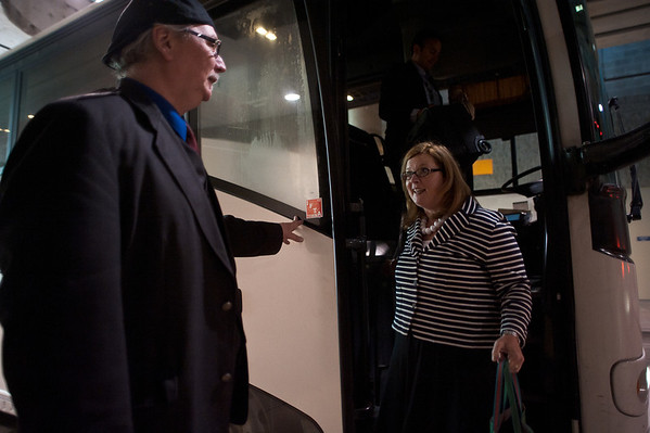 Chicago, IL - ASCO 2011 Annual Meeting: - People arrive by shuttle at the American Society for Clinical Oncology (ASCO) Annual Meeting here today, Sunday June 3, 2012.  Over 31,000 physicians, researchers and healthcare professionals from over 100 countries are attending the meeting which is being held at the McCormick Convention center and features the latest cancer research in the areas of basic and clinical science. Photo by © ASCO/Brian Powers 2012 Technical Questions: todd@toddbuchanan.com; ASCO Contact: photos@asco.org