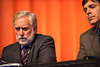 Chicago, IL - ASCO 2011 Annual Meeting: - Stephen Solomon, right, and Steven Curley, left during the Curative-Intent Treatment of Colorectal Cancer Metastases session at the American Society for Clinical Oncology (ASCO) Annual Meeting here today, Sunday June 3, 2012.  Over 31,000 physicians, researchers and healthcare professionals from over 100 countries are attending the meeting which is being held at the McCormick Convention center and features the latest cancer research in the areas of basic and clinical science. Photo by © ASCO/Brian Powers 2012 Technical Questions: todd@toddbuchanan.com; ASCO Contact: photos@asco.org