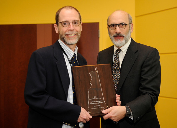 Chicago, IL - ASCO 2011 Annual Meeting: - State Affiliate Grant recipient Andrew A. Hertler, MD, FACP,  is recognized by ASCO President Michael Link, MD, during the State Affiliate President's Reception at the American Society for Clinical Oncology (ASCO) Annual Meeting here today, Sunday June 3, 2012.  Over 25,000 physicians, researchers and healthcare professionals from over 100 countries are attending the meeting which is being held at the McCormick Convention center and features the latest cancer research in the areas of basic and clinical science. Photo by © ASCO/Phil McCarten 2012 Technical Questions: todd@toddbuchanan.com; ASCO Contact: photos@asco.org