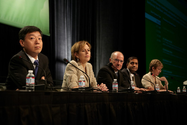 San Francisco, CA - ASCO GI 2012: Panelists take questions from the eQ&A at General Session I: Cancers of the Pancreas, Small Bowel and Hepatobiliary Tract at the 2012 American Society of Clinical Oncology (ASCO) Gastrointestinal Cancers Symposium here today, Friday January 20, 2012. Over 3,000 Physicians, researchers, healthcare professionals, advocates and survivors from across the United States and over seas attended the meeting which features the latest research on Gastrointestinal cancer treatment and prevention. Date: Friday January 20, 2012 Photo by © ASCO/Todd Buchanan 2012 Technical Questions: todd@toddbuchanan.com; Phone: 612-226-5154.