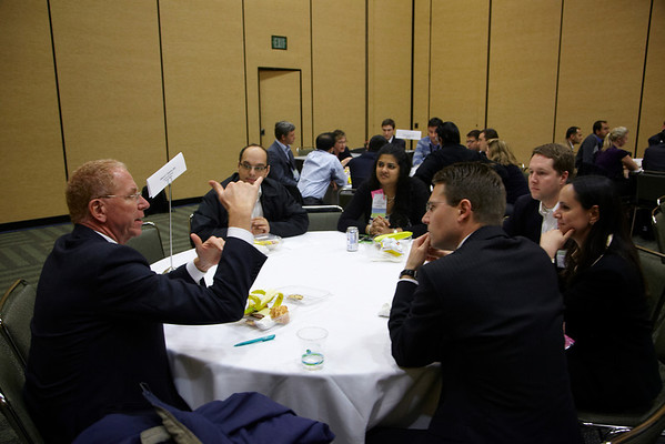 San Francisco, CA - ASCO GI 2012: Speakers and attendees discuss professional development questions at the Fellows Luncheon during the 2012 American Society of Clinical Oncology (ASCO) Gastrointestinal Cancers Symposium here today, Thursday January 19, 2012. Over 3,000 Physicians, researchers, healthcare professionals, advocates and survivors from across the United States and over seas attended the meeting which features the latest research on Gastrointestinal cancer treatment and prevention. Date: Thursday January 19, 2012 Photo by © ASCO/Todd Buchanan 2012 Technical Questions: todd@toddbuchanan.com; Phone: 612-226-5154.
