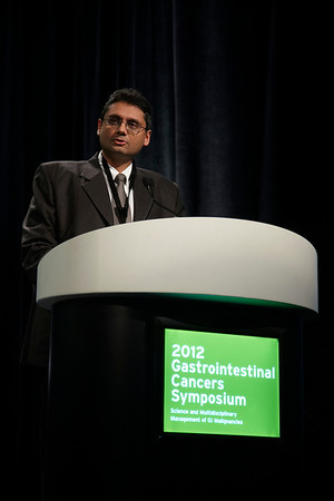 San Francisco, CA - ASCO GI 2012: Dr. Manish A Shah presents his data to attendees at the Oral Abstract Session: Cancers of the Esophagus and Stomach - ABSTRACT 5 at the 2012 American Society of Clinical Oncology (ASCO) Gastrointestinal Cancers Symposium here today, Thursday January 19, 2012. Over 3,000 Physicians, researchers, healthcare professionals, advocates and survivors from across the United States and over seas attended the meeting which features the latest research on Gastrointestinal cancer treatment and prevention. Date: Thursday January 19, 2012 Photo by © ASCO/Todd Buchanan 2012 Technical Questions: todd@toddbuchanan.com; Phone: 612-226-5154.