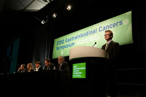 San Francisco, CA - ASCO GI 2012: Dr. Russell D. Petty addresses attendees during General Session I: Cancers of the Esophagus and Stomach: Prevention, Screening, and Diagnosis--ABSTRACT #1 at the 2012 American Society of Clinical Oncology (ASCO) Gastrointestinal Cancers Symposium here today, Thursday January 19, 2012. Over 3,000 Physicians, researchers, healthcare professionals, advocates and survivors from across the United States and over seas attended the meeting which features the latest research on Gastrointestinal cancer treatment and prevention. Date: Thursday January 19, 2012 Photo by © ASCO/Todd Buchanan 2012 Technical Questions: todd@toddbuchanan.com; Phone: 612-226-5154.