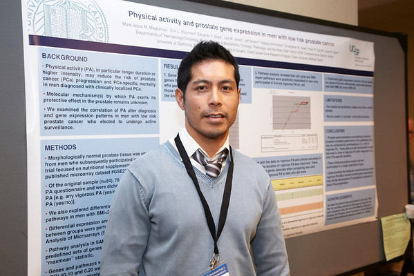 San Francisco, CA - 2011 Genitourinary Cancers Symposium - Mark Jesus Mendoza Magabanua with his Poster - Abstract #189 Physical Activity and prostate gene expression in men with low-risk prostate cancer at the 2011 Genitourinary Cancers Symposium (GI) meeting at the Marriott Marquis here today, Friday February 3, 2012.  A record 2500 attendees from around the world were on hand to learn the latest treatment and research in Genitourinary cancers from fellow physicians, researchers, health care professionals, cancer survivors and patient advocates. Photo by © ASCO/Todd Buchanan 2012 Technical Questions: todd@toddbuchanan.com; Phone: 612-226-5154.