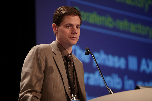 San Francisco, CA - 2011 Genitourinary Cancers Symposium - Brian I. Rini discusses his Abstract #354 Phase III AXIS trial for second-line metastatic renal cell carcinoma (mRCC): Effect of prior first-line treatment duration and axitinib dose titration on axitinib efficacy during the Oral Abstract Session C: Renal Cancer at the 2011 Genitourinary Cancers Symposium (GI) meeting at the Marriott Marquis here today, Saturday February 4, 2012.  A record 2500 attendees from around the world were on hand to learn the latest treatment and research in Genitourinary cancers from fellow physicians, researchers, health care professionals, cancer survivors and patient advocates. Photo by © ASCO/Todd Buchanan 2012 Technical Questions: todd@toddbuchanan.com; Phone: 612-226-5154.
