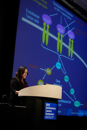 San Francisco, CA - 2011 Genitourinary Cancers Symposium - Ana M. Molina, MD discusses Designing Phase III Trials in Metastatic Renal Cell Carcinoma: What Are the New Standards?during General Session VIII: Translational Science Session: Renal Cancer at the 2011 Genitourinary Cancers Symposium (GI) meeting at the Marriott Marquis here today, Saturday February 4, 2012.  A record 2500 attendees from around the world were on hand to learn the latest treatment and research in Genitourinary cancers from fellow physicians, researchers, health care professionals, cancer survivors and patient advocates. Photo by © ASCO/Todd Buchanan 2012 Technical Questions: todd@toddbuchanan.com; Phone: 612-226-5154.