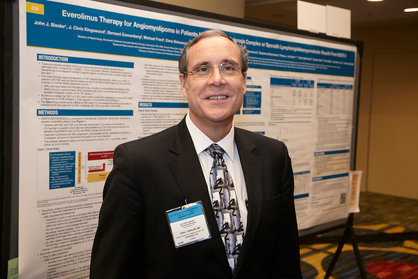 San Francisco, CA - 2011 Genitourinary Cancers Symposium - John J Bissler with his poster Abstract 354 during the Poster Session E: Renal Cancer at the 2011 Genitourinary Cancers Symposium (GI) meeting at the Marriott Marquis here today, Saturday February 4, 2012.  A record 2500 attendees from around the world were on hand to learn the latest treatment and research in Genitourinary cancers from fellow physicians, researchers, health care professionals, cancer survivors and patient advocates. Photo by © ASCO/Todd Buchanan 2012 Technical Questions: todd@toddbuchanan.com; Phone: 612-226-5154.