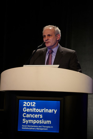 San Francisco, CA - 2011 Genitourinary Cancers Symposium - Michael B. Atkins, MD discusses Tomorrow's Targets during General Session VIII: Translational Science Session: Renal Cancer at the 2011 Genitourinary Cancers Symposium (GI) meeting at the Marriott Marquis here today, Saturday February 4, 2012.  A record 2500 attendees from around the world were on hand to learn the latest treatment and research in Genitourinary cancers from fellow physicians, researchers, health care professionals, cancer survivors and patient advocates. Photo by © ASCO/Todd Buchanan 2012 Technical Questions: todd@toddbuchanan.com; Phone: 612-226-5154.