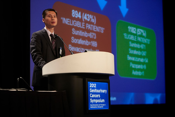 San Francisco, CA - 2011 Genitourinary Cancers Symposium - Daniel Y. Heng discusses his Abstract #353 A multicentered population-based analysis of outcomes of patients with metastatic renal cell carcinoma (mRCC) that do not meet eligibility criteria for clinical trials during the Oral Abstract Session C: Renal Cancer at the 2011 Genitourinary Cancers Symposium (GI) meeting at the Marriott Marquis here today, Saturday February 4, 2012.  A record 2500 attendees from around the world were on hand to learn the latest treatment and research in Genitourinary cancers from fellow physicians, researchers, health care professionals, cancer survivors and patient advocates. Photo by © ASCO/Todd Buchanan 2012 Technical Questions: todd@toddbuchanan.com; Phone: 612-226-5154.