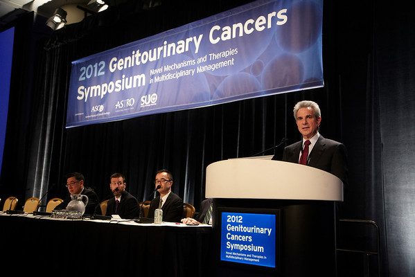 San Francisco, CA - 2011 Genitourinary Cancers Symposium - Howard I. Scher, MD discusses Abstract LBA#1 Effect of MDV3100, an androgen receptor signaling inhibitor (ARSI) on overall survival in patients with prostate cancer post docetaxel: Results from the phase III AFFIRM study at the 2011 Genitourinary Cancers Symposium (GU) meeting at the Marriott Marquis here today, Thursday February 2, 2012.  A record 2500 attendees from around the world were on hand to learn the latest treatment and research in Genitourinary cancers from fellow physicians, researchers, health care professionals, cancer survivors and patient advocates. Photo by © ASCO/Todd Buchanan 2012 Technical Questions: todd@toddbuchanan.com; Phone: 612-226-5154.