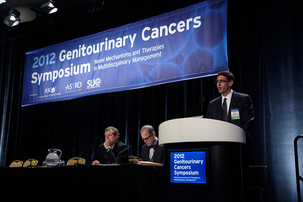 San Francisco, CA - 2011 Genitourinary Cancers Symposium - Daniel J. Krauss, MD discusses Role of Dose Escalation and Supplemental Androgen Deprivation during General Session I at the 2011 Genitourinary Cancers Symposium (GU) meeting at the Marriott Marquis here today, Thursday February 2, 2012.  A record 2500 attendees from around the world were on hand to learn the latest treatment and research in Genitourinary cancers from fellow physicians, researchers, health care professionals, cancer survivors and patient advocates. Photo by © ASCO/Todd Buchanan 2012 Technical Questions: todd@toddbuchanan.com; Phone: 612-226-5154.