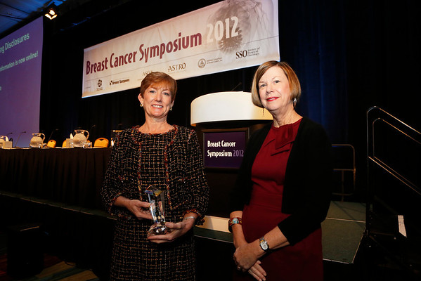 San Francisco, CA - Breast Cancer Symposium 2012: Monica Morrow, MD receives the ASCO Gianni Bonadonna Breast Cancer Award and Lecture  from Sandra M. Swain, MD, ASCO President at the Breast Cancer Symposium 2012 here today, Friday September 14, 2012.  The Symposium is supported by ASCO, the American Society of Clinical Oncology, ASTRO, The American Society of Radiation Oncology, SSO, Society of Surgical Oncology, ASBS American Society of Breast Surgeons and ASBC American Society of Breast Cancer. Over 1,000 physicians, researchers and allied healthcare professionals are attending the meeting which is being held at the San Francisco Marriott and features the latest Breast Cancer research in the areas of basic and clinical science. Photo by © ASCO/Todd Buchanan 2012 Technical Questions: todd@toddbuchanan.com;