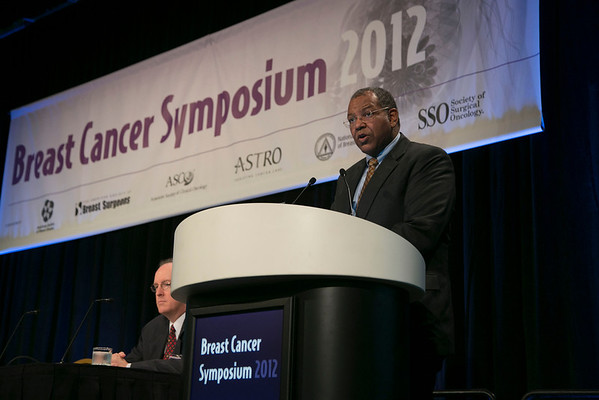 San Francisco, CA - Breast Cancer Symposium 2012: Otis W. Brawley, MD discusses Opportunities Lost during the General Session X: Health Policy: Opportunities and Challenges at the Breast Cancer Symposium 2012 here today, Saturday September 15, 2012.  The Symposium is supported by ASCO, the American Society of Clinical Oncology, ASTRO, The American Society of Radiation Oncology, SSO, Society of Surgical Oncology, ASBS American Society of Breast Surgeons and ASBC American Society of Breast Cancer. Over 1,000 physicians, researchers and allied healthcare professionals are attending the meeting which is being held at the San Francisco Marriott and features the latest Breast Cancer research in the areas of basic and clinical science. Photo by © ASCO/Todd Buchanan 2012 Technical Questions: todd@toddbuchanan.com;