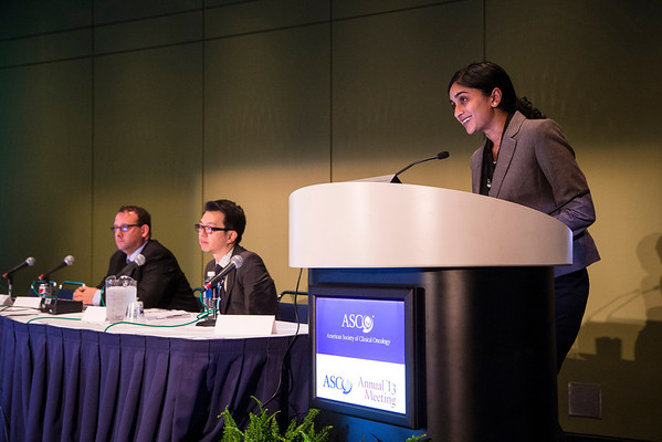 Chicago, IL - ASCO 2013 Annual Meeting: - Keerthi Gogineni discusses the  Health Services Research Clinical Science Symposium at the American Society for Clinical Oncology (ASCO) Annual Meeting here today, Tuesday June 4, 2013.  Over 30,000 physicians, researchers and healthcare professionals from over 100 countries are attending the meeting which is being held at the McCormick Convention center and features the latest cancer research in the areas of basic and clinical science. Photo by © ASCO/Todd Buchanan 2013 Technical Questions: todd@toddbuchanan.com; ASCO Contact: photos@asco.org
