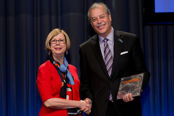 Chicago, IL - ASCO 2013 Annual Meeting: - Dr. Sandra Swain with Dr. Phillip Stella from Saint Joseph's Mercy Health during the Clinical Trials Participation Awards at the American Society for Clinical Oncology (ASCO) Annual Meeting here today, Sunday June 2, 2013.  Over 30,000 physicians, researchers and healthcare professionals from over 100 countries are attending the meeting which is being held at the McCormick Convention center and features the latest cancer research in the areas of basic and clinical science. Photo by © ASCO/Brian Powers 2013 Technical Questions: todd@toddbuchanan.com; ASCO Contact: photos@asco.org