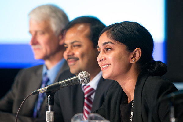 Chicago, IL - ASCO 2013 Annual Meeting: - Keerthi Gogineni, MD, MSHP, speaks during the PRESS CONFERENCE: Highlighted Research of the Day Press Briefing at the American Society for Clinical Oncology (ASCO) Annual Meeting here today, Monday June 3, 2013.  Over 30,000 physicians, researchers and healthcare professionals from over 100 countries are attending the meeting which is being held at the McCormick Convention center and features the latest cancer research in the areas of basic and clinical science. Photo by © ASCO/Scott Morgan 2013 Technical Questions: todd@toddbuchanan.com; ASCO Contact: photos@asco.org