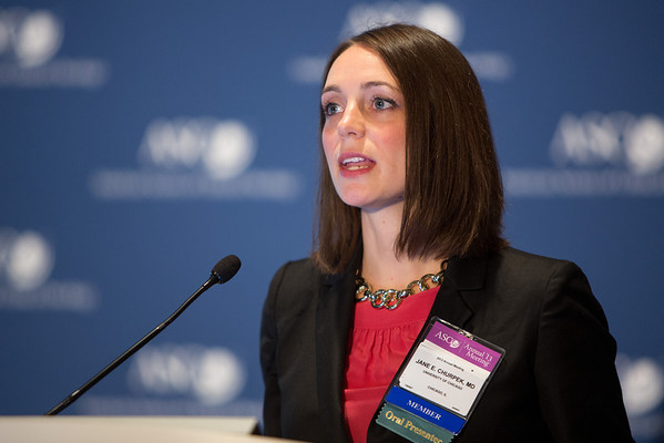 Chicago, IL - ASCO 2013 Annual Meeting: - Jane E. Churpek, MD, speaks during the PRESS CONFERENCE: Highlighted Research of the Day Press Briefing at the American Society for Clinical Oncology (ASCO) Annual Meeting here today, Monday June 3, 2013.  Over 30,000 physicians, researchers and healthcare professionals from over 100 countries are attending the meeting which is being held at the McCormick Convention center and features the latest cancer research in the areas of basic and clinical science. Photo by © ASCO/Scott Morgan 2013 Technical Questions: todd@toddbuchanan.com; ASCO Contact: photos@asco.org