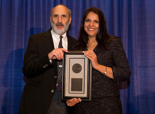 Chicago, IL - ASCO 2013 Annual Meeting: - Dr. Michael Link, left, Arti Hurria, MD during B. J. Kennedy Award and Lecture for Scientific Excellence in Geriatric Oncology at the American Society of Clinical Oncology (ASCO) Annual Meeting here today, Monday June 3, 2013.  Over 30,000 physicians, researchers and healthcare professionals from over 100 countries are attending the meeting which is being held at the McCormick Convention center and features the latest cancer research in the areas of basic and clinical science. Photo by © ASCO/Rodney White 2013 Technical Questions: todd@toddbuchanan.com; ASCO Contact: photos@asco.org