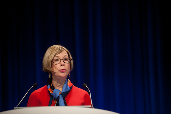 Chicago, IL - ASCO 2013 Annual Meeting: - Dr. Sandra Swain speaks during the Clinical Trials Participation Awards at the American Society for Clinical Oncology (ASCO) Annual Meeting here today, Sunday June 2, 2013.  Over 30,000 physicians, researchers and healthcare professionals from over 100 countries are attending the meeting which is being held at the McCormick Convention center and features the latest cancer research in the areas of basic and clinical science. Photo by © ASCO/Brian Powers 2013 Technical Questions: todd@toddbuchanan.com; ASCO Contact: photos@asco.org