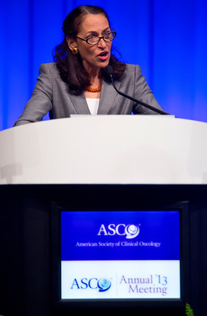 Chicago, IL - ASCO 2013 Annual Meeting: - Dr. Margaret Hamburg, FDA Commissioner during PLENARY at the American Society for Clinical Oncology (ASCO) Annual Meeting here today, Sunday June 2, 2013.  Over 30,000 physicians, researchers and healthcare professionals from over 100 countries are attending the meeting which is being held at the McCormick Convention center and features the latest cancer research in the areas of basic and clinical science. Photo by © ASCO/Rodney White 2013 Technical Questions: todd@toddbuchanan.com; ASCO Contact: photos@asco.org