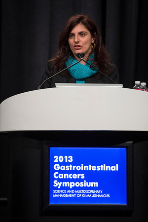 San Francisco, CA - 2013 Gastrointestinal Cancers Symposium - San Francisco, CA: Federica Di Nicolantonio discusses How to Assess Potential Biomarkers in Clinical Trials during the General Session II: Cancers of the Colon and Rectum: Translational Research at the Gastrointestinal Cancers Symposium 2013 here today, Saturday January 26, 2013. The Symposium is supported by ASCO, the American Society of Clinical Oncology, ASTRO, The American Society of Radiation Oncology, SSO, Society of Surgical Oncology and the AGA Institute. Over 3,000 physicians, researchers and allied healthcare professionals are attending the meeting which is being held at the Moscone West center in San Francisco and features the latest Gastrointestinal Cancers research in the areas of basic and clinical science.  Date: Saturday January 26, 2013.  Photo by © ASCO/Todd Buchanan 2013 Technical Questions: todd@medmeetingimages.com; Phone: 612-226-5154.