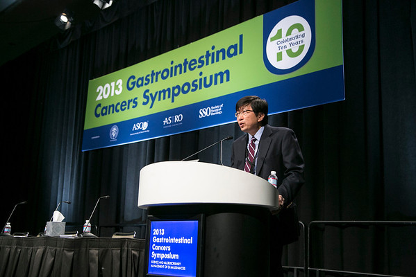 San Francisco, CA - 2013 Gastrointestinal Cancers Symposium - San Francisco, CA: Daniel C. Chung, MD  wlecomes attendees during the General Session I: Cancers of the Esophagus and Stomach: Prevention, Screening, and Diagnosis:  at the Gastrointestinal Cancers Symposium 2013 here today, Thursday January 24, 2013. The Symposium is supported by ASCO, the American Society of Clinical Oncology, ASTRO, The American Society of Radiation Oncology, SSO, Society of Surgical Oncology and the AGA Institute. Over 3,000 physicians, researchers and allied healthcare professionals are attending the meeting which is being held at the Moscone West center in San Francisco and features the latest Gastrointestinal Cancers research in the areas of basic and clinical science.  Date: Thursday January 24, 2013.  Photo by © ASCO/Todd Buchanan 2013 Technical Questions: todd@medmeetingimages.com; Phone: 612-226-5154.